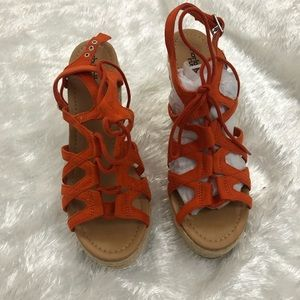 Charlotte Russe Orange Strappy lace up Sandals 9